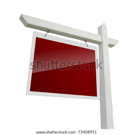 Blank Red Real Estate Sign Isolated on a White Background with Clipping Path.