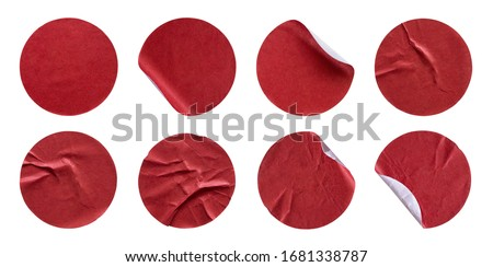 Blank red round adhesive paper sticker label set collection isolated on white background