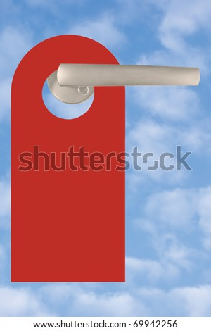 Blank Red Tag On Handle Over Light Summer Sky Cloudscape
