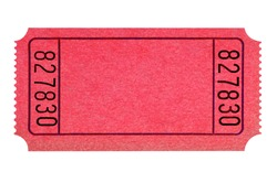 Blank red ticket isolated