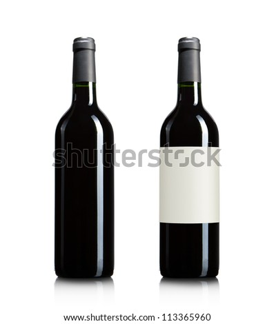 Blank red wine bottles isolated on white background with copy space