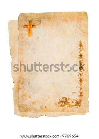 Blank religious paper, parchment with ornaments.