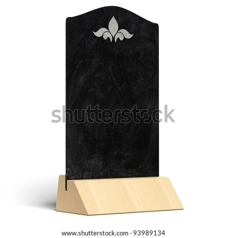 blank restaurant menu with a wooden support, chalkboard over white background