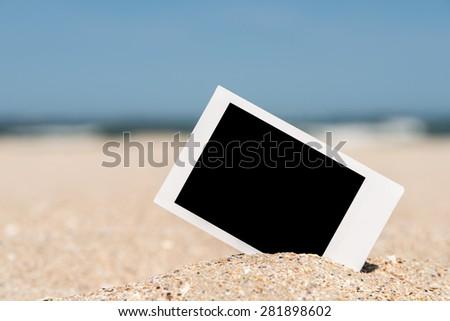 Blank Retro Instant Photo On Beach Sand In Summer