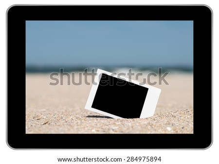 Blank Retro Instant Photo On Beach Sand In Summer On Modern Tablet In iPad Style