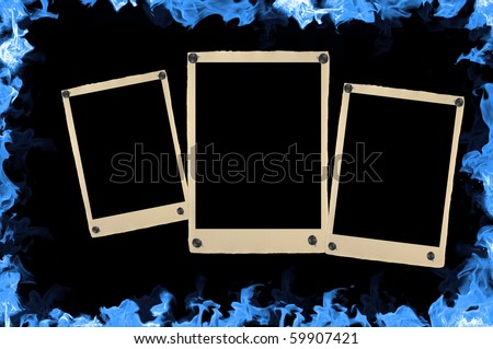 blank retro photos in frame with blue fire