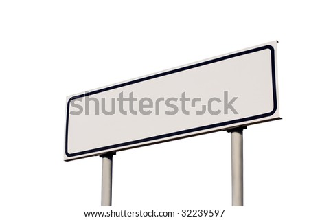 Blank road sign isolated