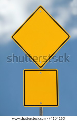 Blank road sign with a blue sky background (with clipping path) - stock photo