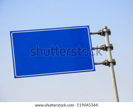 Blank road sign with blue sky.