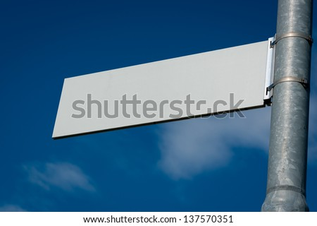 Blank Road Sign with sky and clouds. #137570351