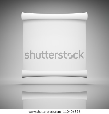 Blank roll of paper for advertising - stock photo