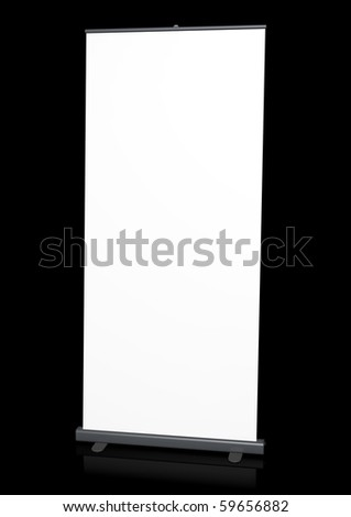 Blank roll-up banner against a black background. 3D rendered image.
