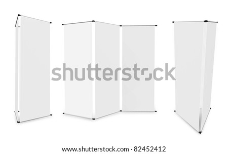blank roll up banner display (3D render) template for design work