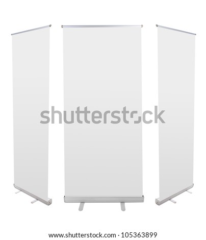 Blank roll up banner display isolated on white background