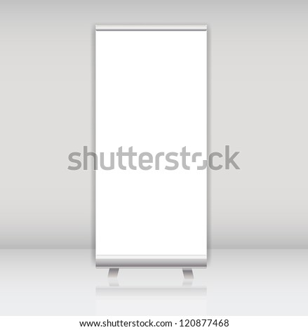 Blank roll up banner display template for designers. Raster version.