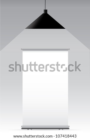 Blank roll up banner on a gray background - stock photo