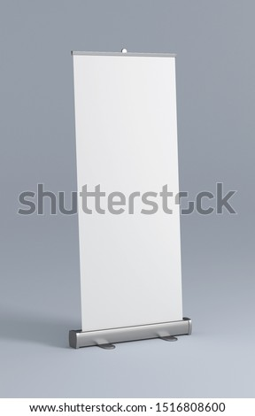 Blank roll up banner. White rollup design mockup with clean background. 85x200cm #1516808600