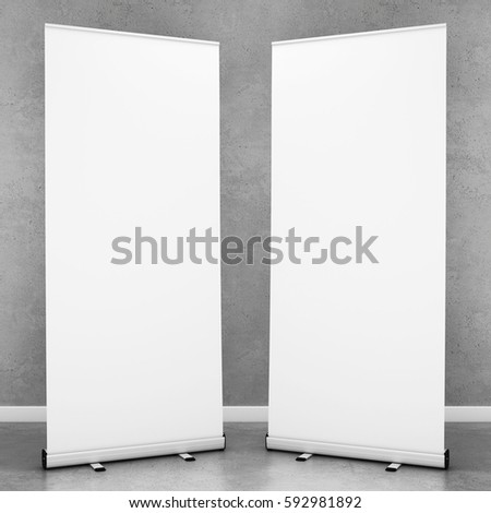 blank roll up banners template 3d rendering ez canvas