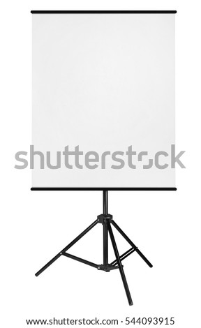 Blank Roll Up Expo Banner Stand on Tripod isolated on white background.  #544093915