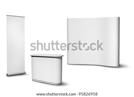 Blank roll-up poster, fair desk and concave wall on white background