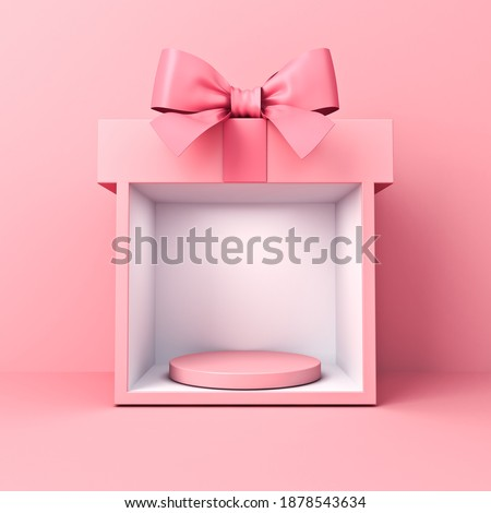 Blank round podium pedestal with spotlight in sweet exhibition booth gift box stand with pink pastel color ribbon bow isolated on pink background minimal conceptual 3D rendering