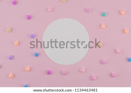 Blank round white card decorate with pastel heart on pink background #1134463481