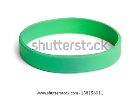 Blank rubber plastic stretch green bracelet isolated on white background.