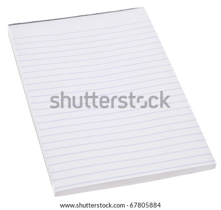 Blank Ruled White Notepad Paper Isolated on White.