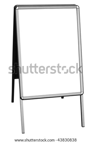 blank sandwich board, isolated on white background, free copy space
