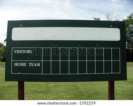 Blank scoreboard at a baseball field. Name of home team removed to allow easy insertion of your wording.