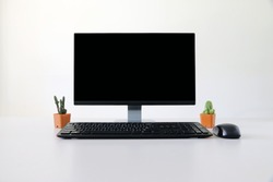 blank screen Computer, Desktop PC. for business on work table front view