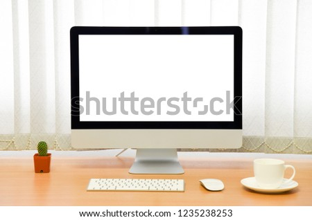 blank screen Computer, Desktop PC. for business on work table front view #1235238253