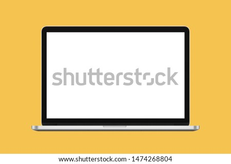 blank screen laptop  isolated on yellow background with clipping path