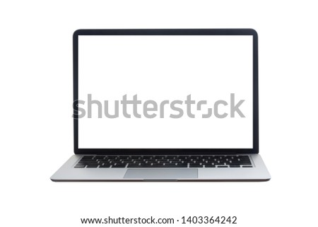 blank screen laptop on isolated white background with clipping path.