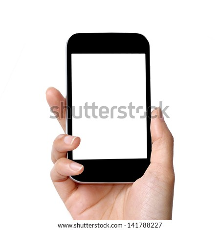 blank screen modern mobile phone in women hand