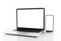 Blank screen notebook, laptop and mobile phone on isolated white background with clipping path. front view.