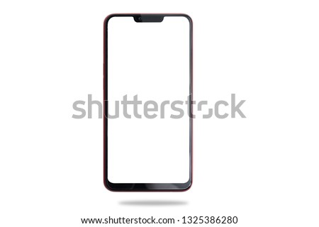 Blank screen on smartphone, cellphone, mobile, tablet on isolated white background. cut out. #1325386280