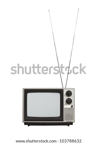 Blank screen portable vintage television with long antennas up.  Isolated on white.
