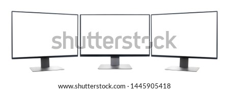 Blank screen wide screen computer desktop on isolated white background with clipping path. concept of multitasking.