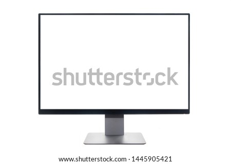 Blank screen wide screen computer desktop on isolated white background with clipping path. front view.
