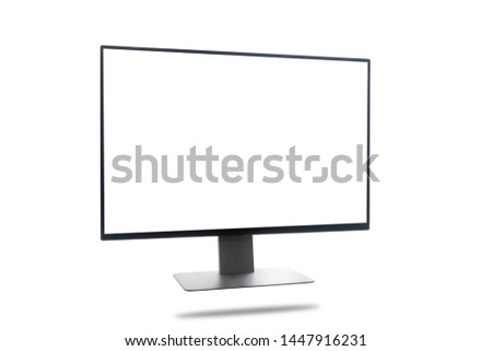 Blank screen wide screen computer desktop on isolated white background with clipping path. side view. #1447916231