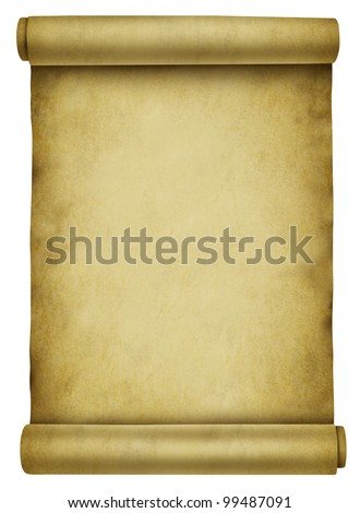 Blank scroll on ancient parchment paper document used for a background for a letter or message announcement from antique obsolete times or medieval note that is rolled up on a white background.