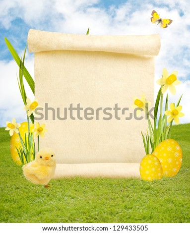 Blank scroll on spring background with easter eggs, butterfly and baby chicken