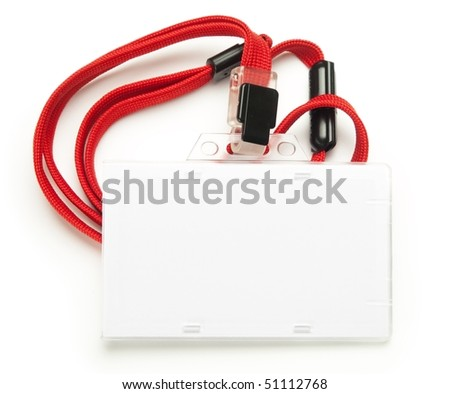 Blank security card with red neck strap isolated on white. For adding your message or corporate information of your choice. - stock photo