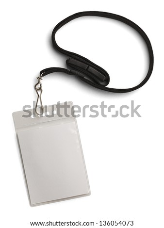 Blank Security Tag with Black Neck Band Isolated on White Background.