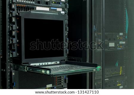 Blank server computer screen in modern interior data Center, server room