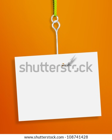 Blank sheet of paper hanging on a fishing hook on orange background