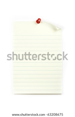 Blank sheet of paper with red thumbtack over white