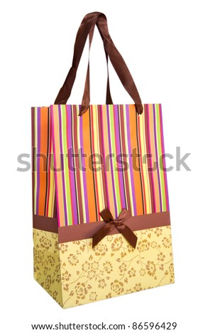 Blank shopping bag isolated on white. Clipping path included.