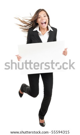 Blank sign business woman. Funny full length of young woman holding white empty billboard or placard. Beautiful mixed race chinese asian / caucasian woman isolated on white background.